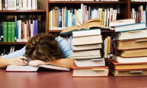 Student falls asleep in library